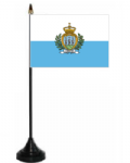 San Marino Desk / Table Flag with plastic stand and base.